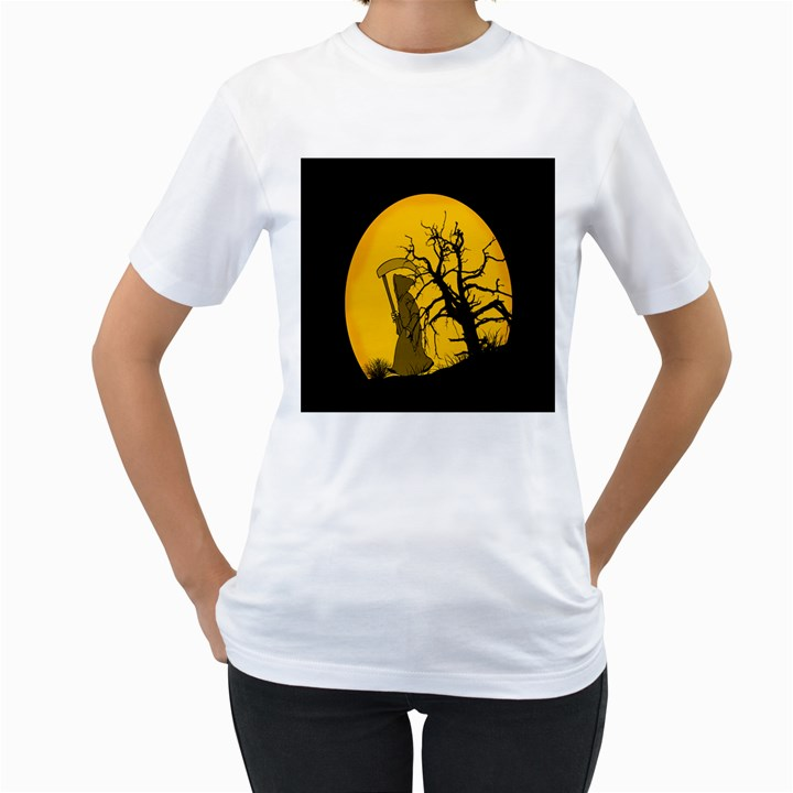 Death Haloween Background Card Women s T-Shirt (White) (Two Sided)