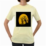 Death Haloween Background Card Women s Yellow T-Shirt Front
