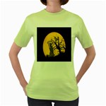 Death Haloween Background Card Women s Green T-Shirt Front