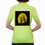 Death Haloween Background Card Women s Green T-Shirt Back