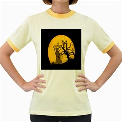 Death Haloween Background Card Women s Fitted Ringer T-Shirts