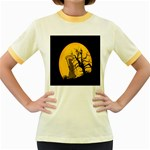 Death Haloween Background Card Women s Fitted Ringer T-Shirts Front