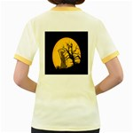 Death Haloween Background Card Women s Fitted Ringer T-Shirts Back