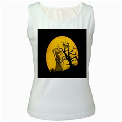 Death Haloween Background Card Women s White Tank Top