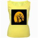 Death Haloween Background Card Women s Yellow Tank Top Front
