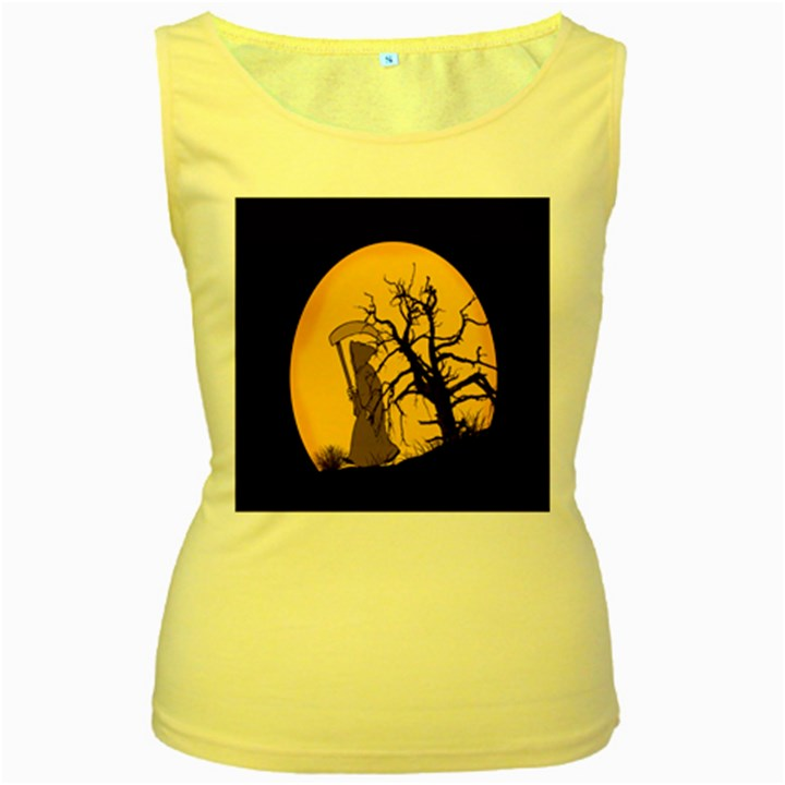 Death Haloween Background Card Women s Yellow Tank Top