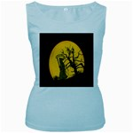 Death Haloween Background Card Women s Baby Blue Tank Top Front