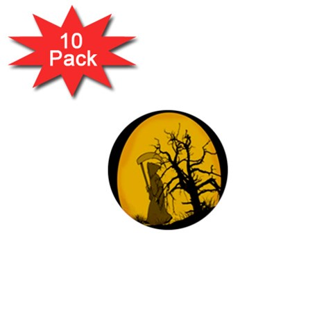 Death Haloween Background Card 1  Mini Buttons (10 pack)