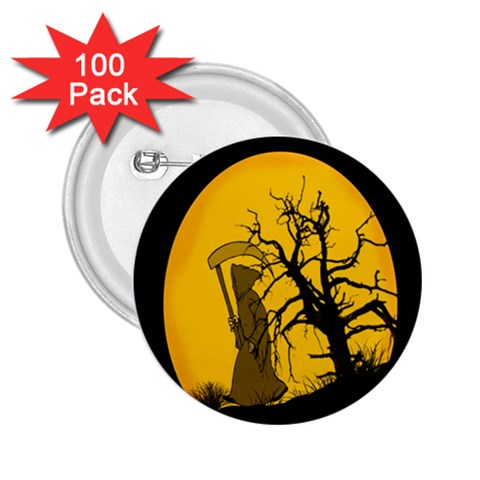 Death Haloween Background Card 2.25  Buttons (100 pack)