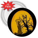 Death Haloween Background Card 3  Buttons (10 pack)  Front