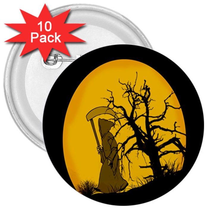 Death Haloween Background Card 3  Buttons (10 pack)