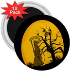 Death Haloween Background Card 3  Magnets (10 pack)  Front