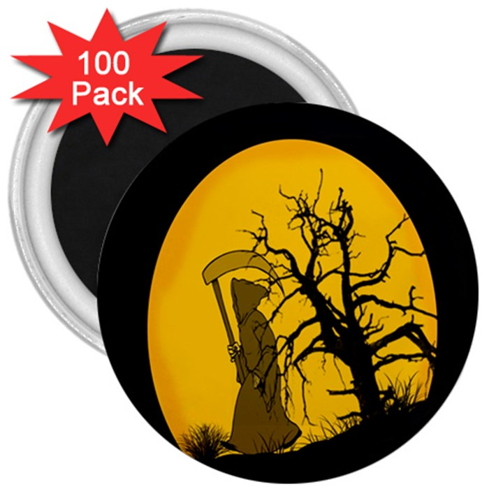 Death Haloween Background Card 3  Magnets (100 pack)