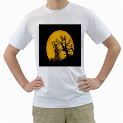 Death Haloween Background Card Men s T-Shirt (White) (Two Sided)