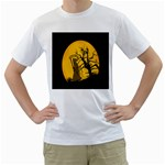 Death Haloween Background Card Men s T-Shirt (White) (Two Sided) Front