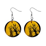 Death Haloween Background Card Mini Button Earrings Front