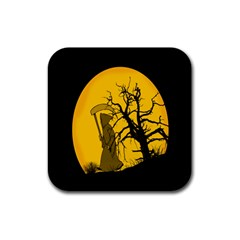 Death Haloween Background Card Rubber Square Coaster (4 pack)