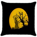 Death Haloween Background Card Throw Pillow Case (Black) Front