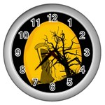 Death Haloween Background Card Wall Clocks (Silver)  Front