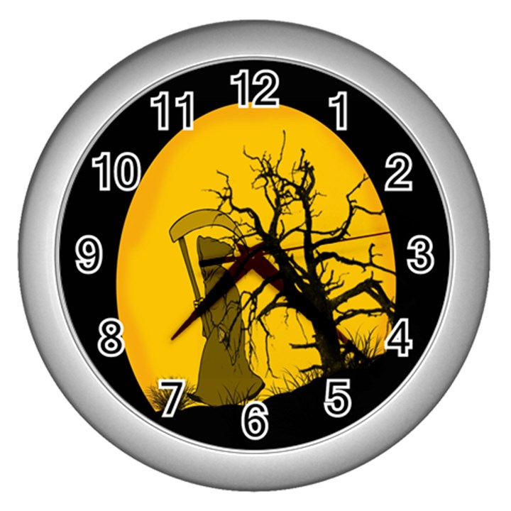 Death Haloween Background Card Wall Clocks (Silver)