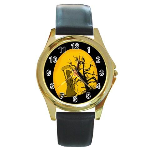 Death Haloween Background Card Round Gold Metal Watch