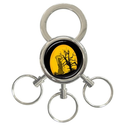 Death Haloween Background Card 3-Ring Key Chains