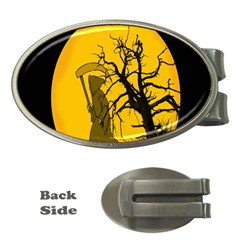 Death Haloween Background Card Money Clips (Oval)