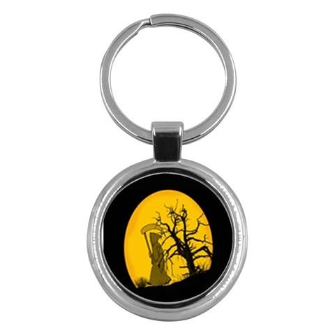 Death Haloween Background Card Key Chains (Round)