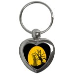 Death Haloween Background Card Key Chains (Heart)  Front
