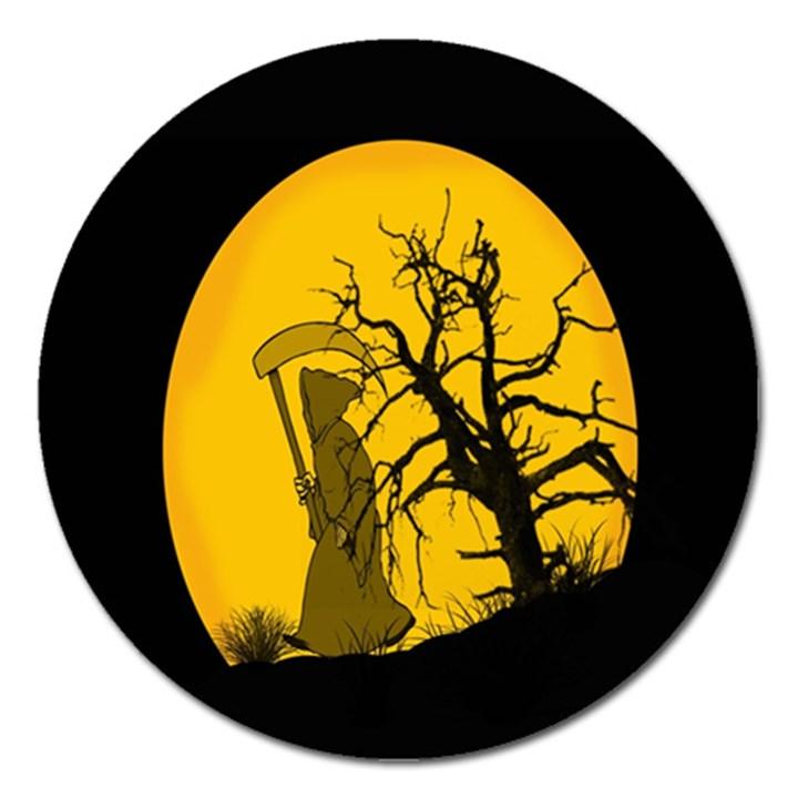 Death Haloween Background Card Magnet 5  (Round)