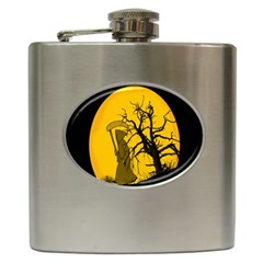 Death Haloween Background Card Hip Flask (6 oz)