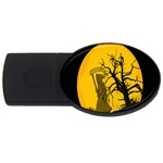 Death Haloween Background Card USB Flash Drive Oval (1 GB)  Front