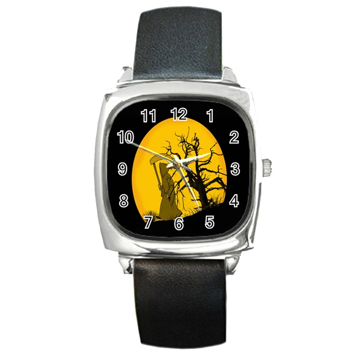 Death Haloween Background Card Square Metal Watch