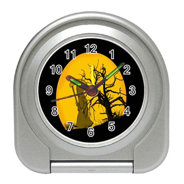 Death Haloween Background Card Travel Alarm Clocks
