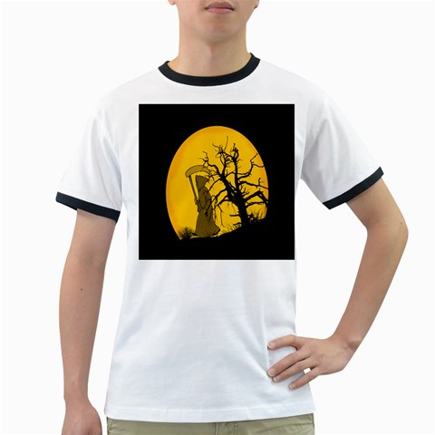 Death Haloween Background Card Ringer T-Shirts