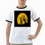 Death Haloween Background Card Ringer T-Shirts Front