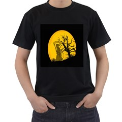 Death Haloween Background Card Men s T-Shirt (Black) (Two Sided)