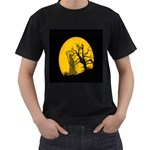 Death Haloween Background Card Men s T-Shirt (Black) (Two Sided) Front