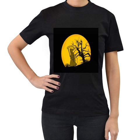 Death Haloween Background Card Women s T-Shirt (Black) (Two Sided)