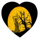 Death Haloween Background Card Jigsaw Puzzle (Heart) Front