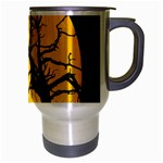 Death Haloween Background Card Travel Mug (Silver Gray) Right