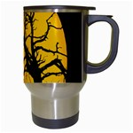 Death Haloween Background Card Travel Mugs (White) Right