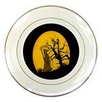 Death Haloween Background Card Porcelain Plates Front