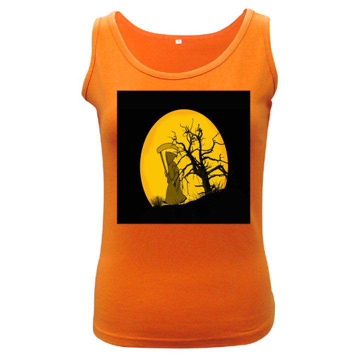 Death Haloween Background Card Women s Dark Tank Top