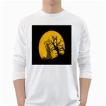Death Haloween Background Card White Long Sleeve T-Shirts Front