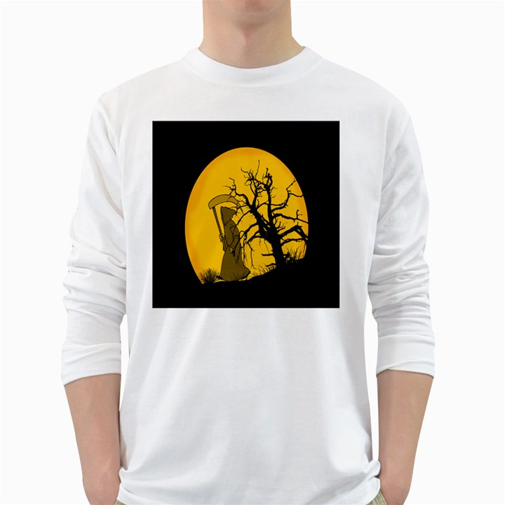 Death Haloween Background Card White Long Sleeve T-Shirts