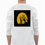 Death Haloween Background Card White Long Sleeve T-Shirts Back
