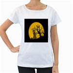 Death Haloween Background Card Women s Loose-Fit T-Shirt (White) Front