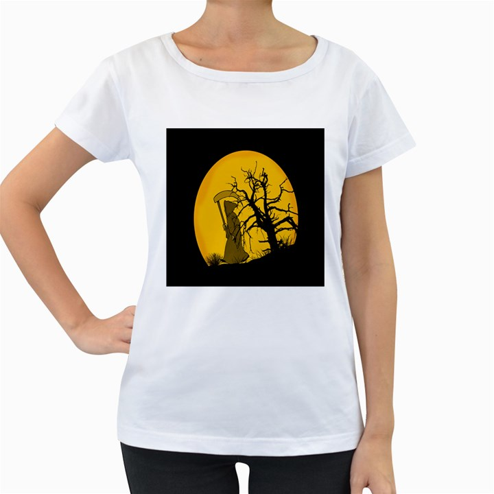 Death Haloween Background Card Women s Loose-Fit T-Shirt (White)