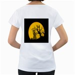 Death Haloween Background Card Women s Loose-Fit T-Shirt (White) Back